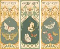Etiquetas del vintage: mariposa - marco del art nouveau Fotos de archivo libres de regalías