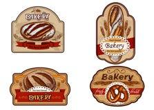 Etiquetas del vintage para la panadería stock de ilustración
