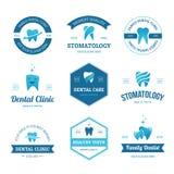 Etiquetas dentales azules Imagen de archivo libre de regalías