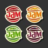 Etiquetas determinadas del atasco de las frutas simples del vector Imagenes de archivo