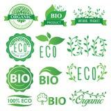 Etiquetas determinadas del verde, del eco, bio y orgánicas Foto de archivo