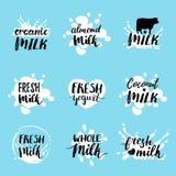 Etiquetas dibujadas mano de la leche del vector Muestras fijadas para la producción de lechería Marca la colección con etiqueta p stock de ilustración