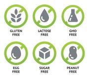 Etiquetas dietéticas de la comida ilustración del vector