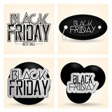 Etiquetas diferentes ajustadas de Black Friday isoladas Imagem de Stock