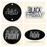 Etiquetas diferentes ajustadas de Black Friday isoladas Fotos de Stock Royalty Free