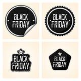 Etiquetas diferentes ajustadas de Black Friday isoladas Foto de Stock Royalty Free