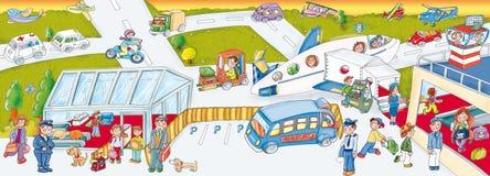 Etiquetas do aeroporto, jogo do ` s das crianças Foto de Stock