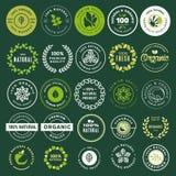 Etiquetas do alimento biológico e da bebida e grupo de elementos ilustração royalty free