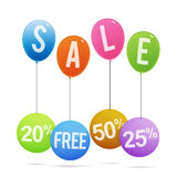 Etiquetas do balão da venda Fotografia de Stock Royalty Free