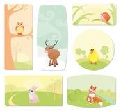 Etiquetas do bebê com animais dos desenhos animados Fotografia de Stock Royalty Free