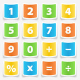 Etiquetas do botão da calculadora Foto de Stock