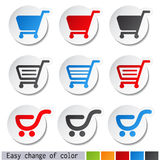 etiquetas do carrinho de compras - trole, artigo ou botão Fotos de Stock Royalty Free
