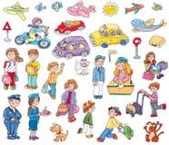 Etiquetas do carro com povos, cães, camionete panqueca, Fotos de Stock Royalty Free