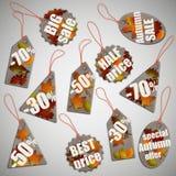Etiquetas do cartão da venda da queda do outono Ilustração do Vetor
