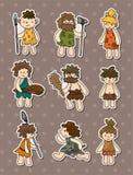 Etiquetas do Caveman dos desenhos animados ilustração stock