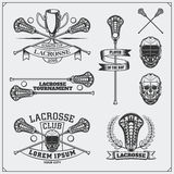 Etiquetas do clube da lacrosse, emblemas e elementos do projeto Foto de Stock
