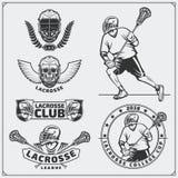 Etiquetas do clube da lacrosse, emblemas, elementos do projeto e silhuetas dos jogadores Imagens de Stock Royalty Free