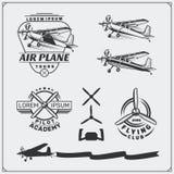 Etiquetas do clube do avião, emblemas, crachás e elementos do projeto Estilo do vintage Fotografia de Stock Royalty Free