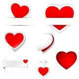 Etiquetas do coração Imagens de Stock