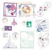Etiquetas do correio aéreo dos E.U. do vintage com motivos do espaço imagens de stock