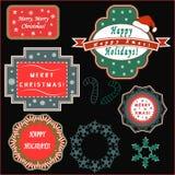 Etiquetas do cumprimento do Natal Fotografia de Stock Royalty Free