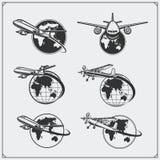 Etiquetas do curso do avião, emblemas, crachás e elementos do projeto Estilo do vintage Imagem de Stock