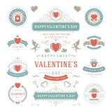 Etiquetas do dia de Valentim e grupo de cartões, ícones do coração Imagens de Stock