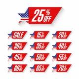 Etiquetas do disconto da venda do Dia da Independência dos EUA Fotos de Stock