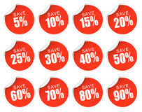 Etiquetas do disconto - vermelho Imagens de Stock