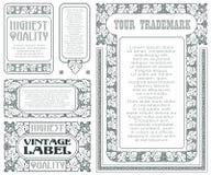 Etiquetas do estilo do vintage do vetor com as uvas para a decoração e o projeto ilustração do vetor