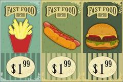 Etiquetas do fast food do vintage Foto de Stock Royalty Free