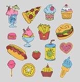 Etiquetas do fast food dos desenhos animados ajustadas ilustração royalty free