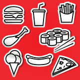 Etiquetas do fastfood Foto de Stock Royalty Free