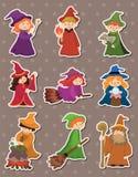 Etiquetas do feiticeiro e da bruxa dos desenhos animados ilustração do vetor