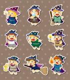 Etiquetas do feiticeiro e da bruxa dos desenhos animados Imagem de Stock Royalty Free