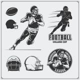 Etiquetas do futebol americano, emblemas e elementos do projeto Jogador, bolas e capacetes de futebol Imagem de Stock Royalty Free