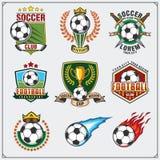 Etiquetas do futebol do futebol, emblemas e elementos do projeto Fotos de Stock Royalty Free