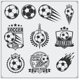 Etiquetas do futebol do futebol, emblemas e elementos do projeto Grupo do vetor Fotografia de Stock