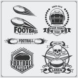 Etiquetas do futebol do futebol, emblemas e elementos do projeto Grupo do vetor Foto de Stock