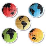 Etiquetas do globo do vetor Foto de Stock