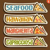 Etiquetas do grupo do vetor para a pizza italiana Fotografia de Stock Royalty Free