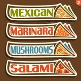 Etiquetas do grupo do vetor para a pizza italiana Imagem de Stock
