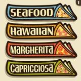 Etiquetas do grupo do vetor para a pizza italiana Foto de Stock