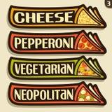 Etiquetas do grupo do vetor para a pizza italiana Fotografia de Stock