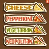Etiquetas do grupo do vetor para a pizza italiana Fotos de Stock