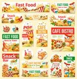 Etiquetas do humburger, da pizza, do cachorro quente e da soda do fast food ilustração do vetor