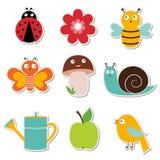 Etiquetas do jardim do verão ajustadas Imagens de Stock Royalty Free