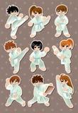 Etiquetas do jogador do karaté dos desenhos animados Fotos de Stock