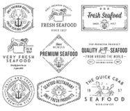 Etiquetas do marisco e crachás vol 1 preto no branco Imagem de Stock Royalty Free