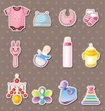Etiquetas do material do bebê Fotos de Stock Royalty Free